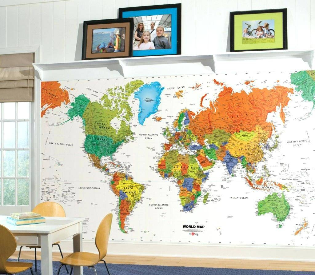 World Map Wall Decal Kids Kids World Map Wall Decal Large Colorful Pertaining To Most Recent Kids World Map Wall Art (View 7 of 20)
