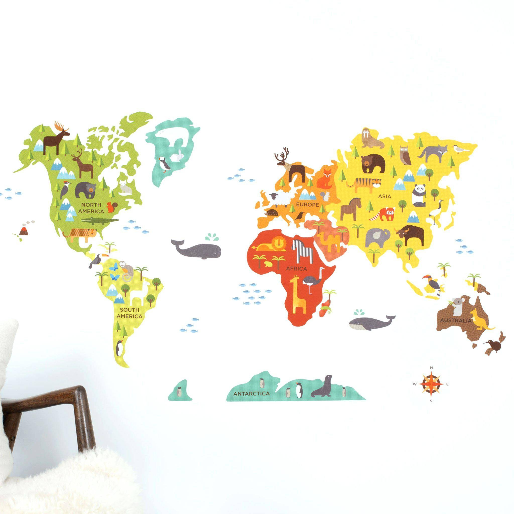 World Map Wall Decal Kids World Map Wall Decal World Map Wall In Latest Kids World Map Wall Art (View 20 of 20)