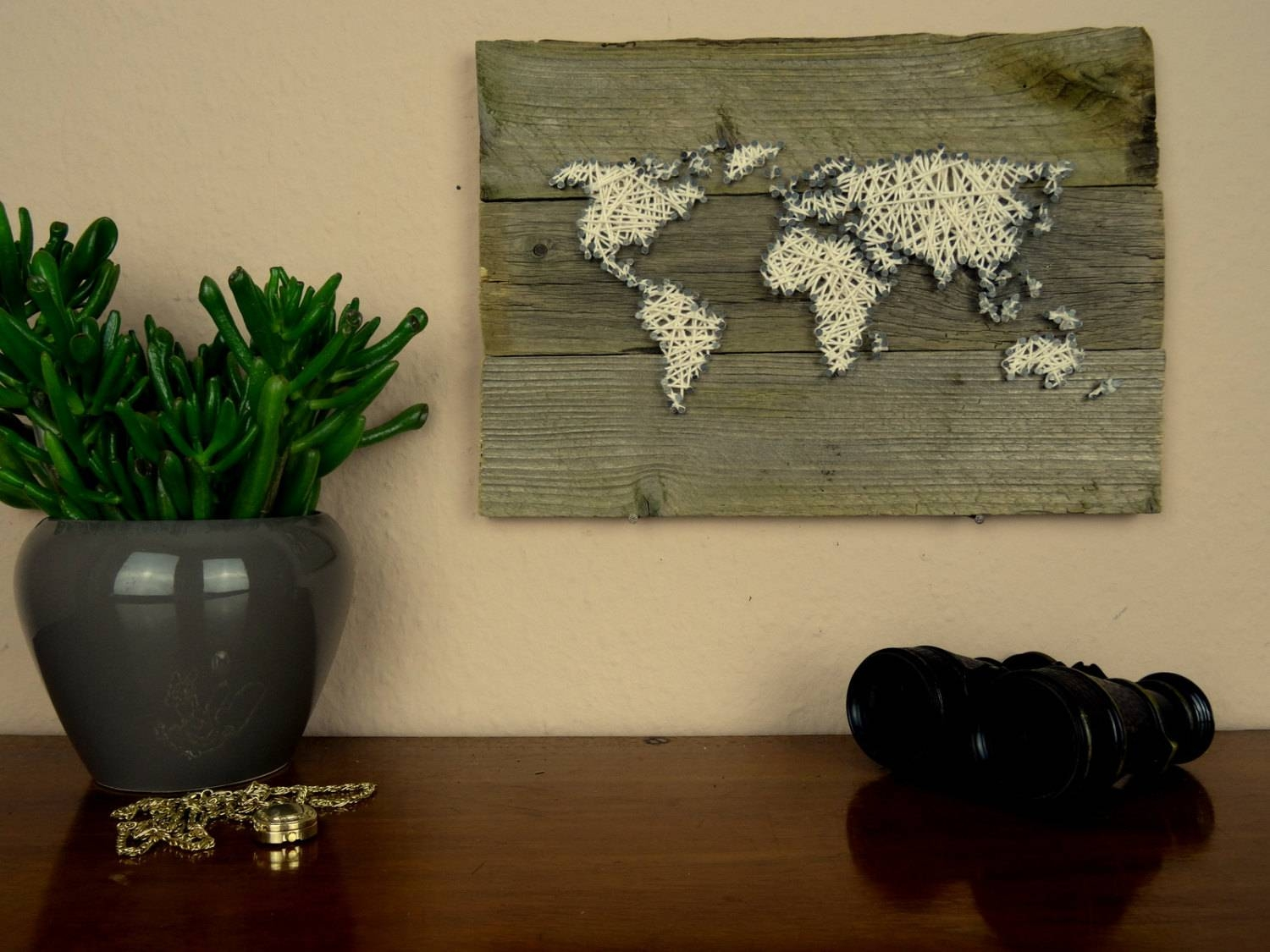 World Map Wall Decal String Art Map Reclaimed Wood Art With Regard To Most Recently Released String Map Wall Art (View 11 of 20)