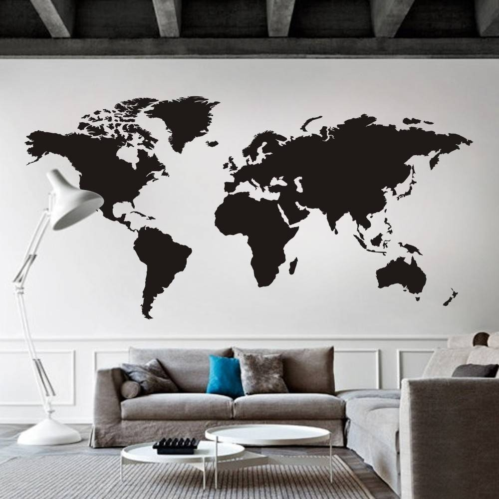World Map Wall Decal The Whole World Atlas Vinyl Wall Art Sticker With 2017 World Map Wall Art Stickers (View 15 of 20)