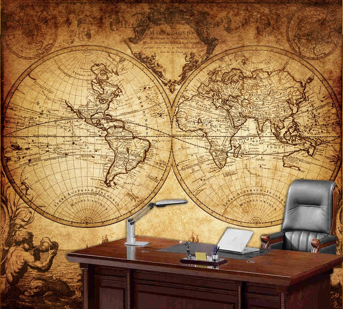 World Map Wall Mural Vintage Old Map Of The World 1733 Throughout Most Recent Old Map Wall Art (View 18 of 20)