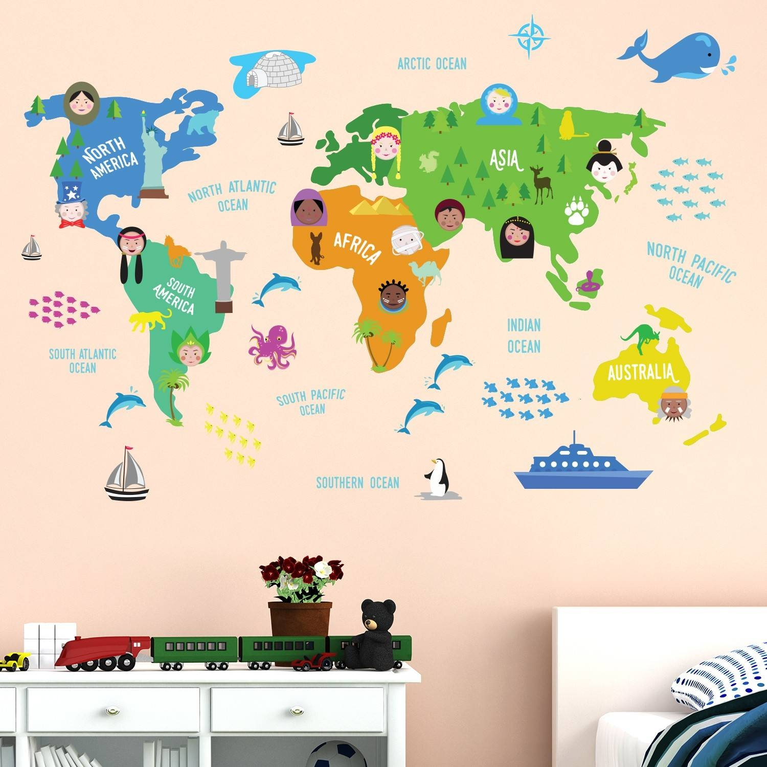 World Map Wall Sticker Kids Images – Home Wall Decoration Ideas Inside Recent World Map Wall Art For Kids (View 20 of 20)