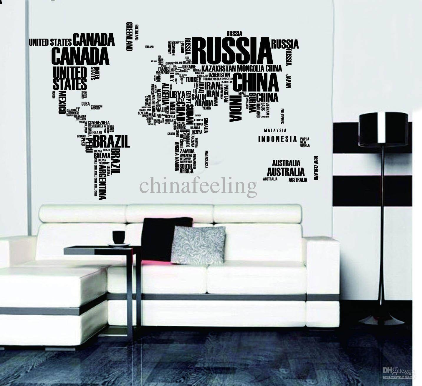 World Map Wall Sticker Map Of The World For Learning Study Black With Regard To 2018 World Map Wall Art Stickers (View 18 of 20)