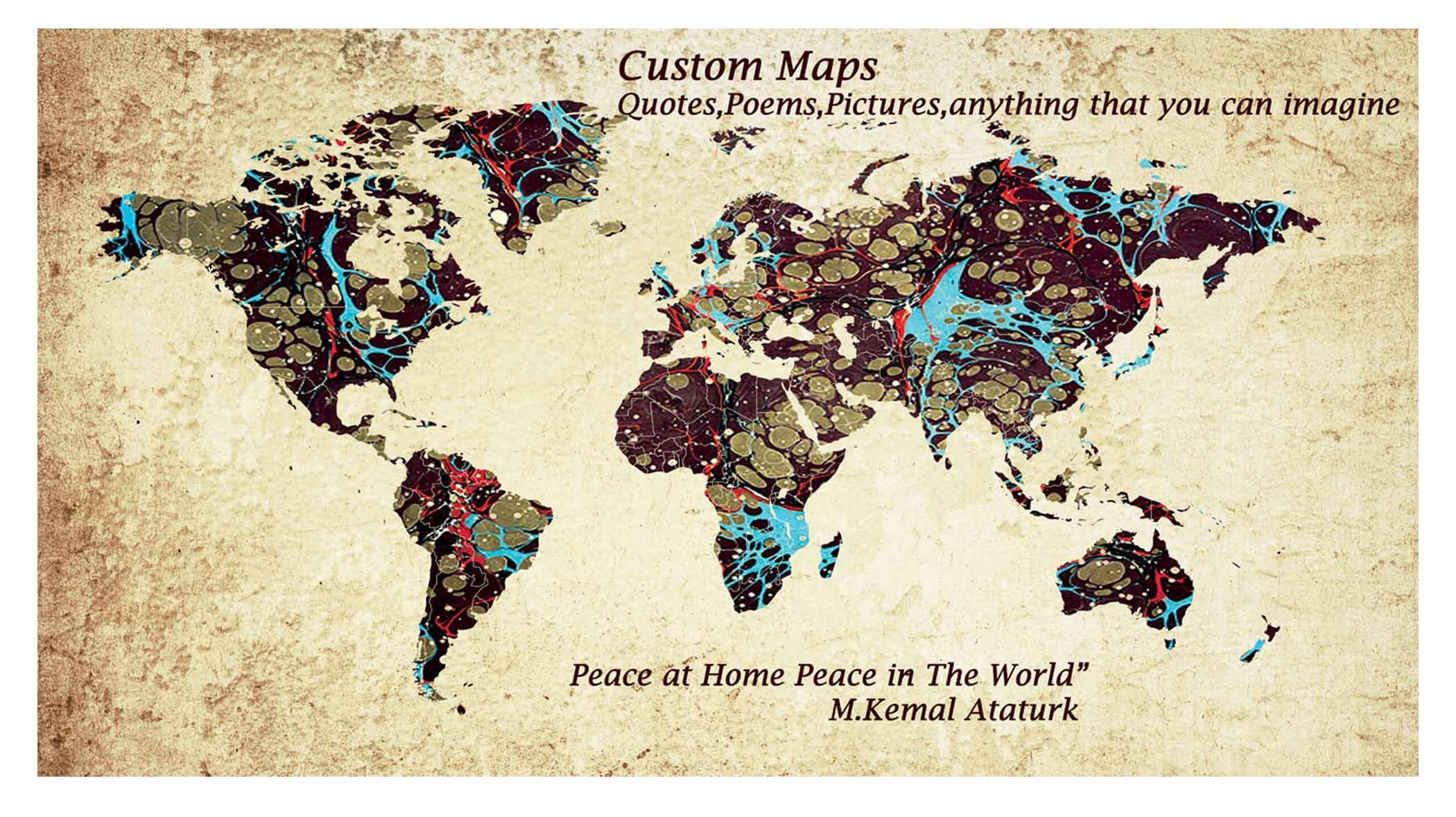 World Map,custom World Map,large World Map Wall Art ,custom Canvas Inside Most Popular Personalized Map Wall Art (View 2 of 20)