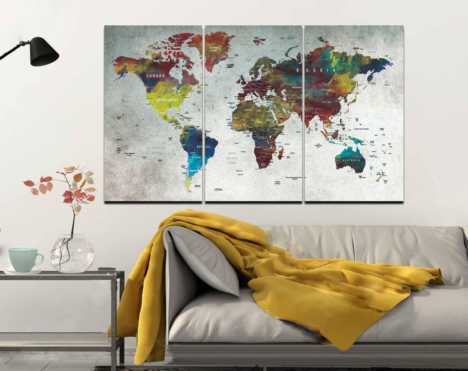 World Map,map,wall Art,large World Map,push Pin Map,abstract World Regarding Best And Newest Canvas Map Wall Art (View 19 of 20)