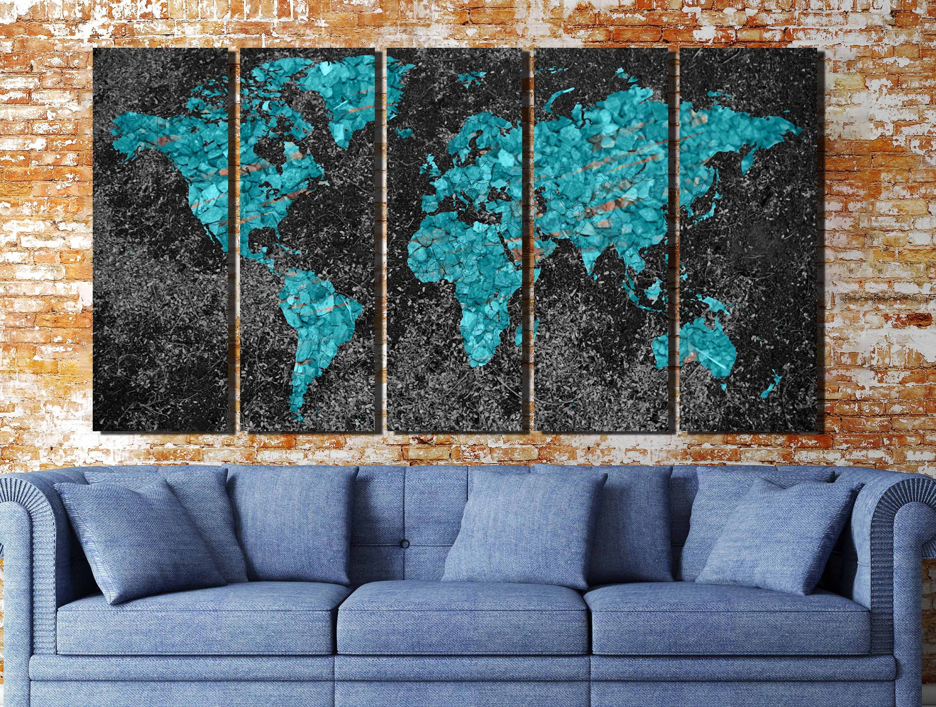 World Map,world Map Abstract,world Map Art,world Map Print,world Pertaining To Best And Newest Abstract Map Wall Art (View 19 of 20)