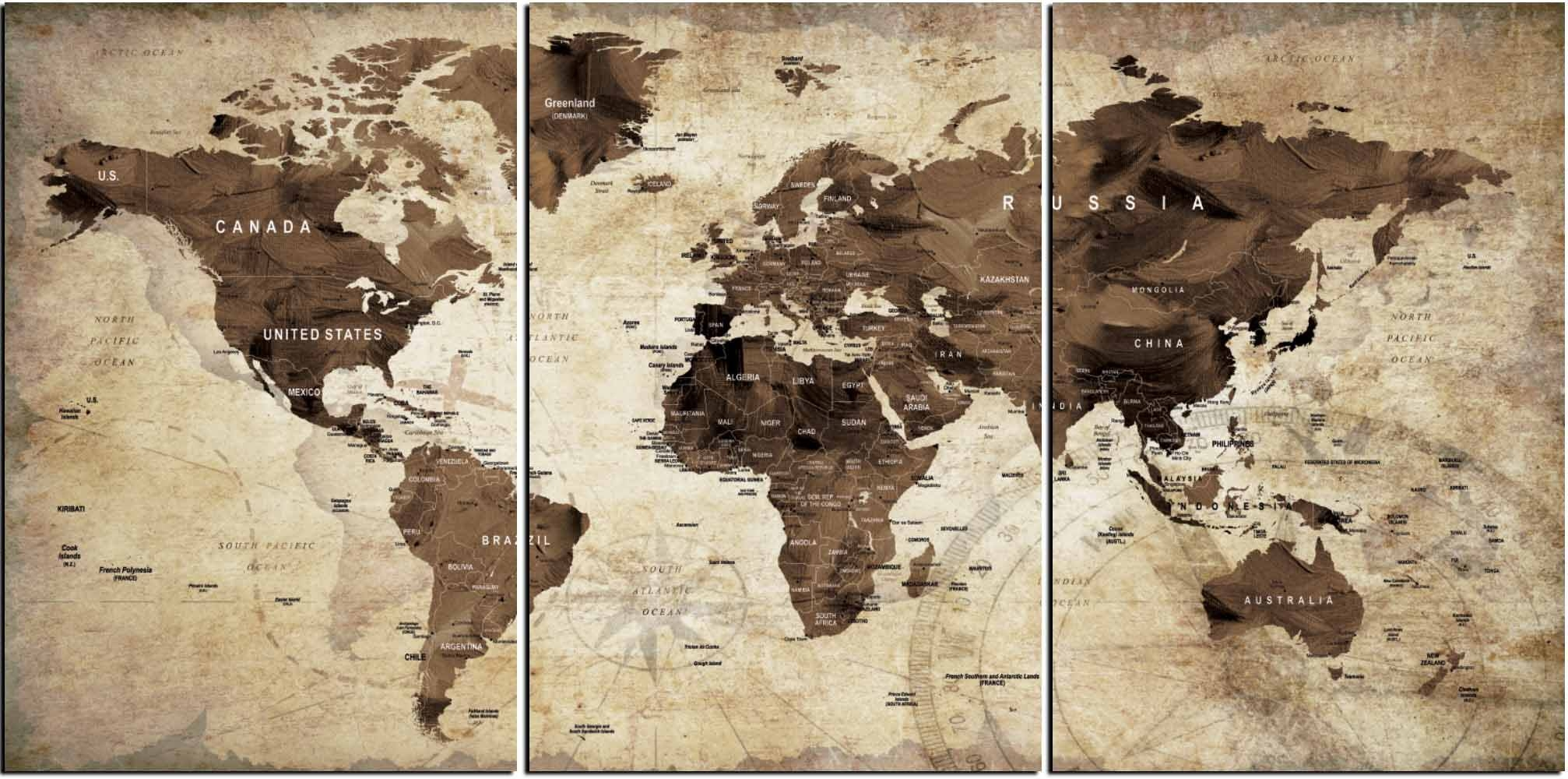 World Map,world Map Vintage,vintage Map Art,world Map Wall Art Regarding Current Old Map Wall Art (View 14 of 20)