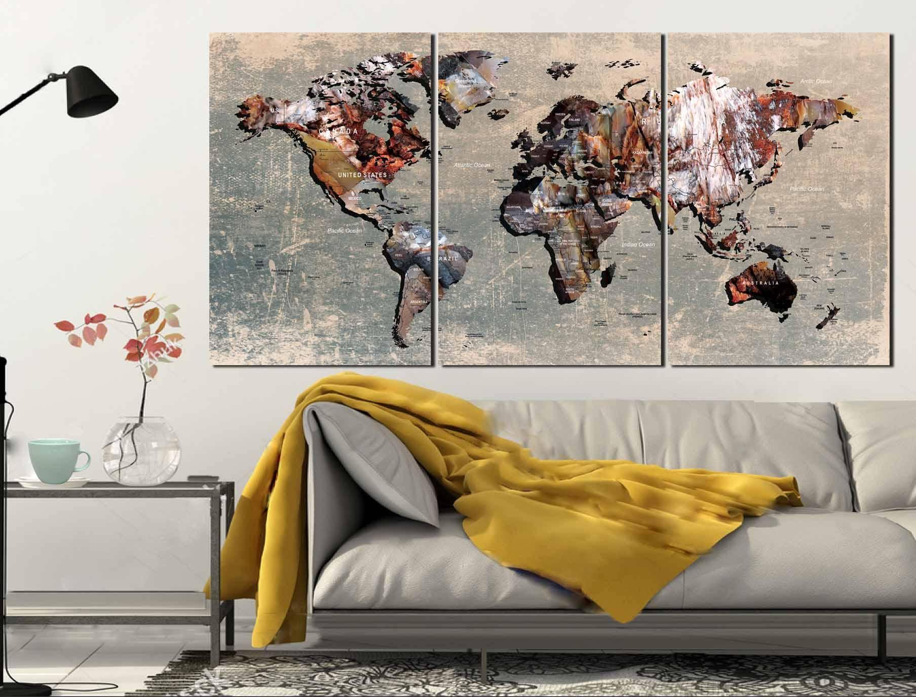 World Map,world Map Wall Art,world Map Canvas,push Pin World Map For Most Recent World Map Wall Art Canvas (View 20 of 20)