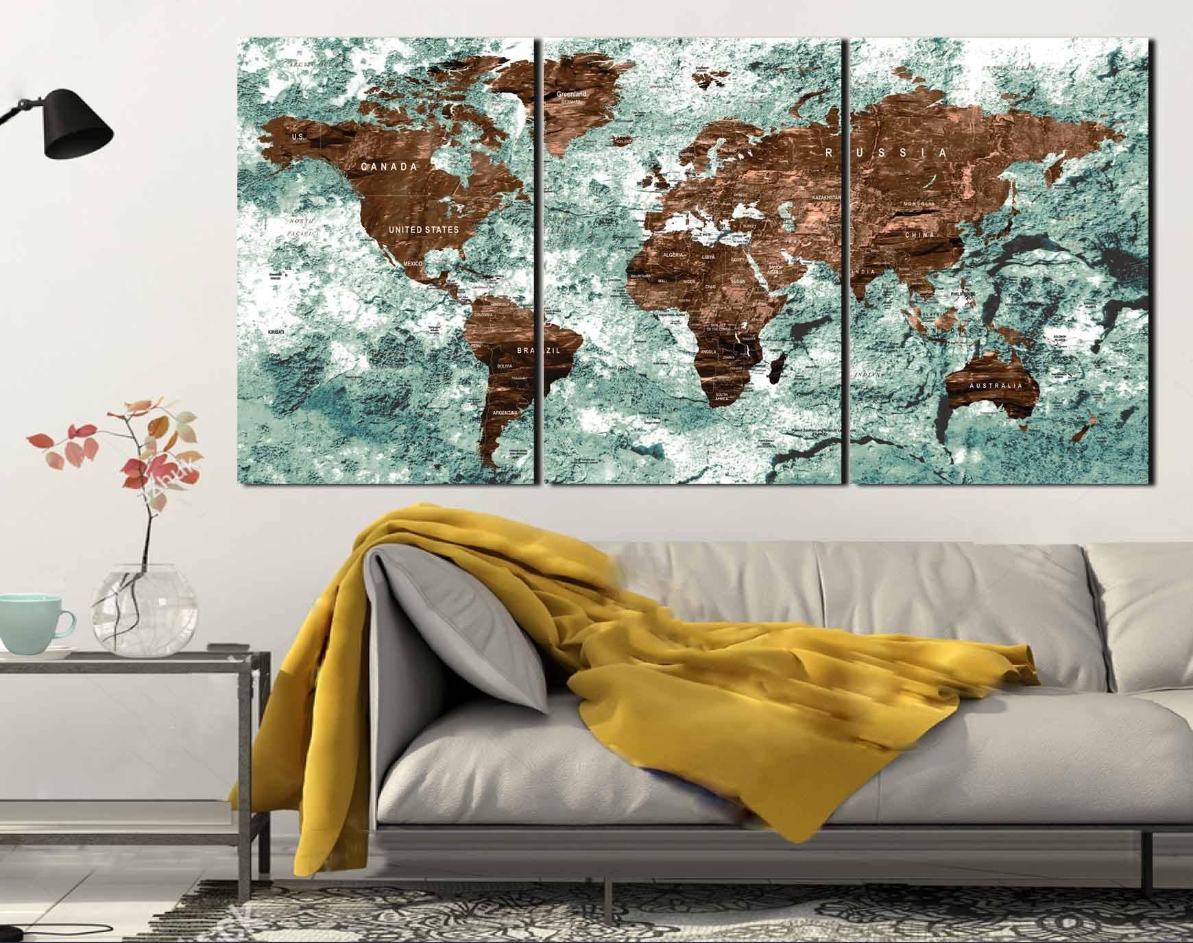 World Map,world Map Wall Art,world Map Canvas,world Map Push Pin With Regard To 2017 World Map Wall Art (View 20 of 20)