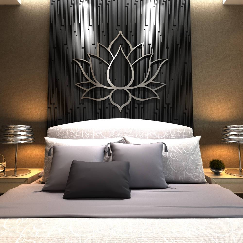 Xl Lotus Flower Metal Wall Art Contemporary Sculpture Extra Throughout 2017 Extra Large Metal Wall Art (View 18 of 20)