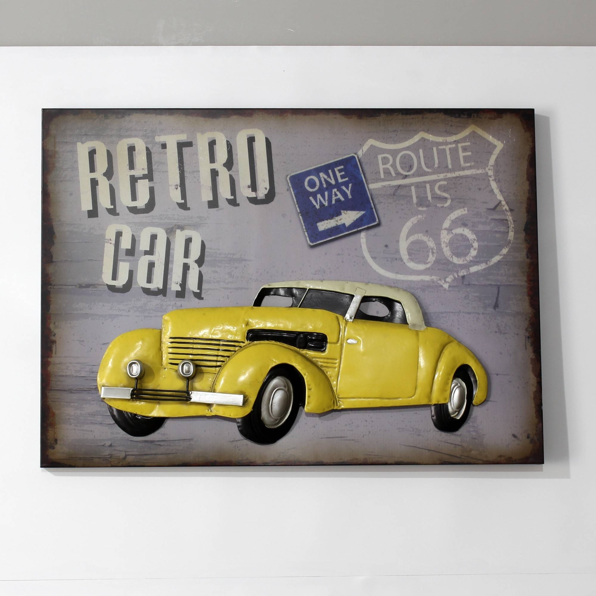Yellow Retro Car In Metal Wall Art Sculpture Wall Decor And Hanging Regarding 2017 Car Metal Wall Art (Gallery 16 of 20)
