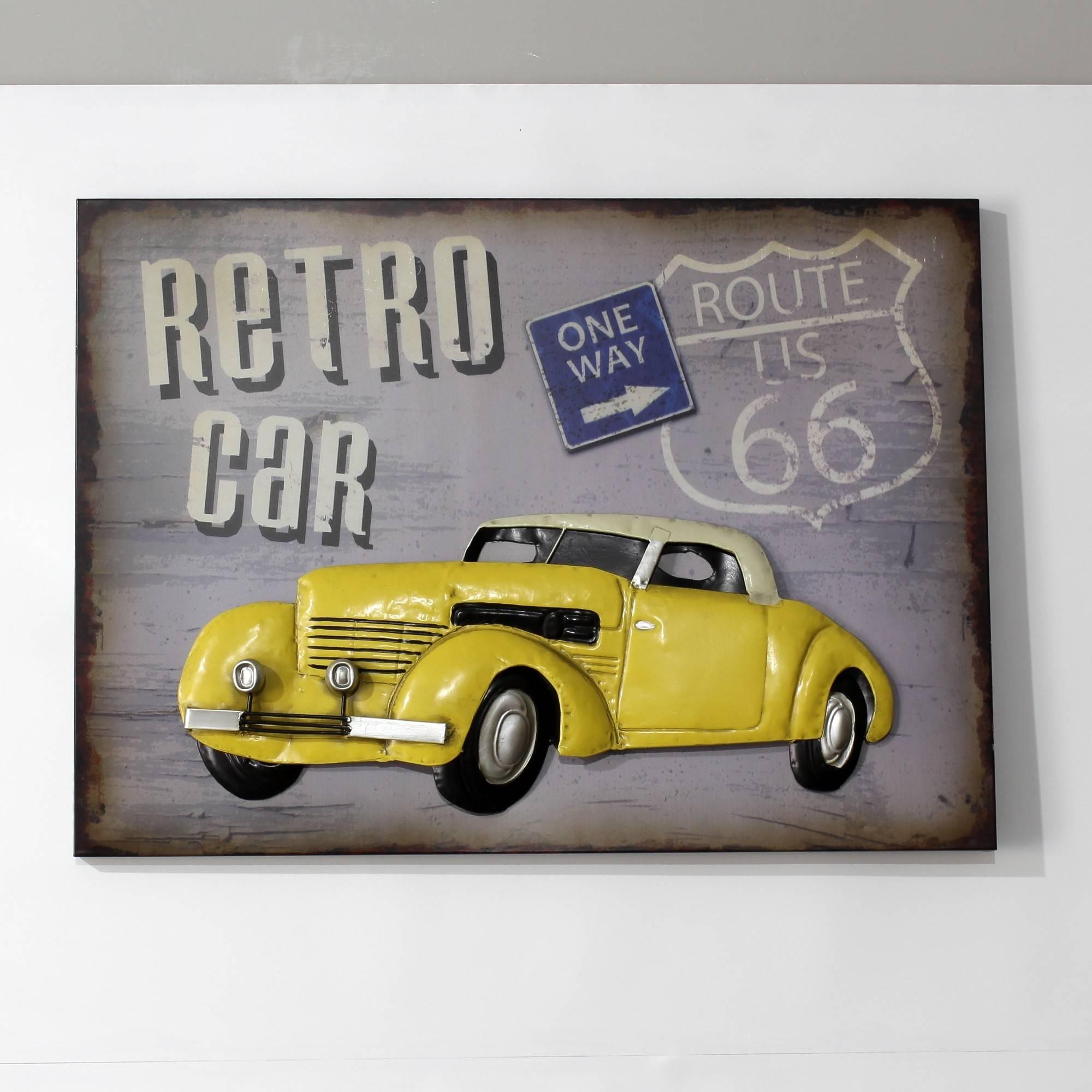 Yellow Retro Car In Metal Wall Art Sculpture Wall Decor And Hanging Regarding 2017 Car Metal Wall Art (View 16 of 20)