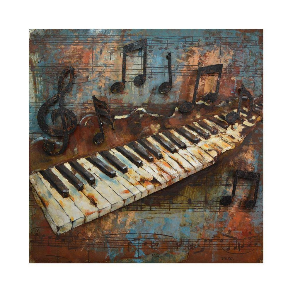 Yosemite Home Decor Melodic Keys Multi Colored Metal Wall Art Inside Most Up To Date Home Metal Wall Art (Gallery 19 of 20)