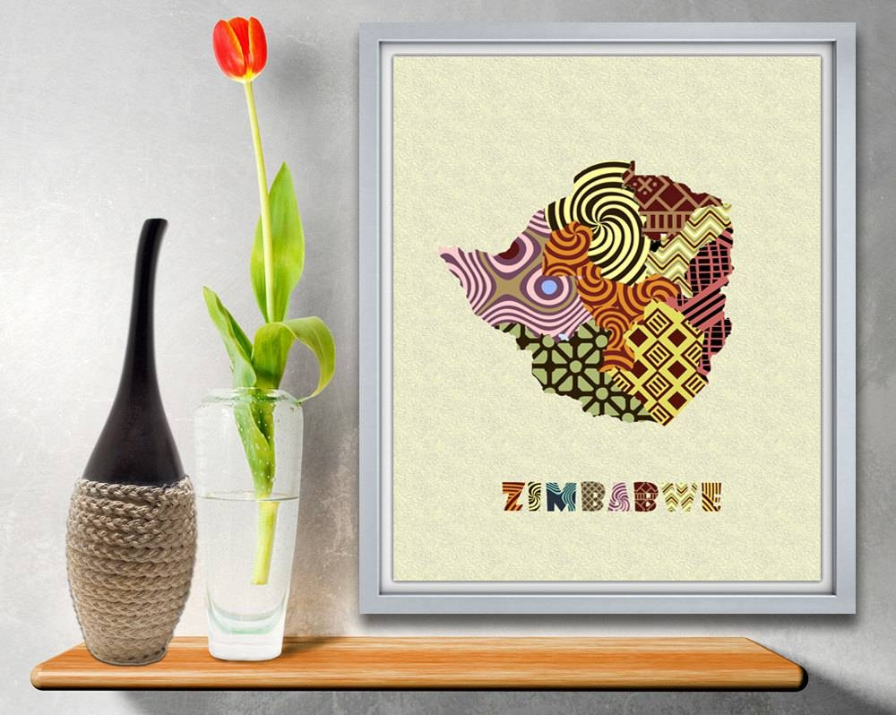Zimbabwe Map Art Print, Zimbabwe Wall Art Decor, Zimbabwe Poster With Latest Africa Map Wall Art (View 12 of 20)