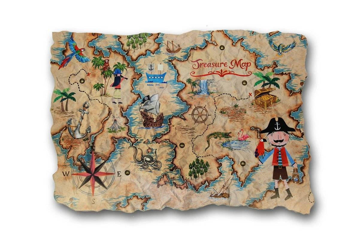 Zoomie Kids Amie Pirates Ahoy Treasure Map Wall Hanging & Reviews For Most Recently Released Treasure Map Wall Art (View 20 of 20)