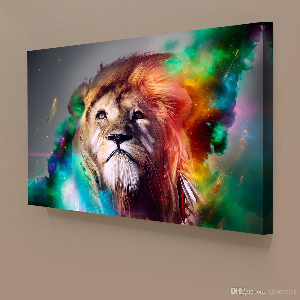 1 Panels Abstract Lion Colorful Painting Home Decor Wall Art Throughout Most Popular Abstract Animal Wall Art (View 1 of 20)