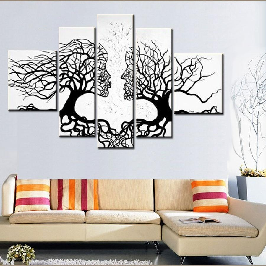 100% Hand Made Promotion Black White Tree Canvas Painting Abstract With Regard To Current Abstract Leaves Wall Art (View 1 of 20)