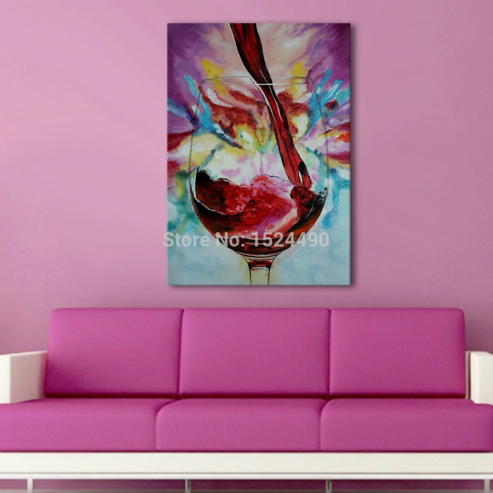 100% Hand Painted Abstract Adorable Noble Red Wine Glass Oil With Regard To Latest Glass Abstract Wall Art (View 1 of 20)