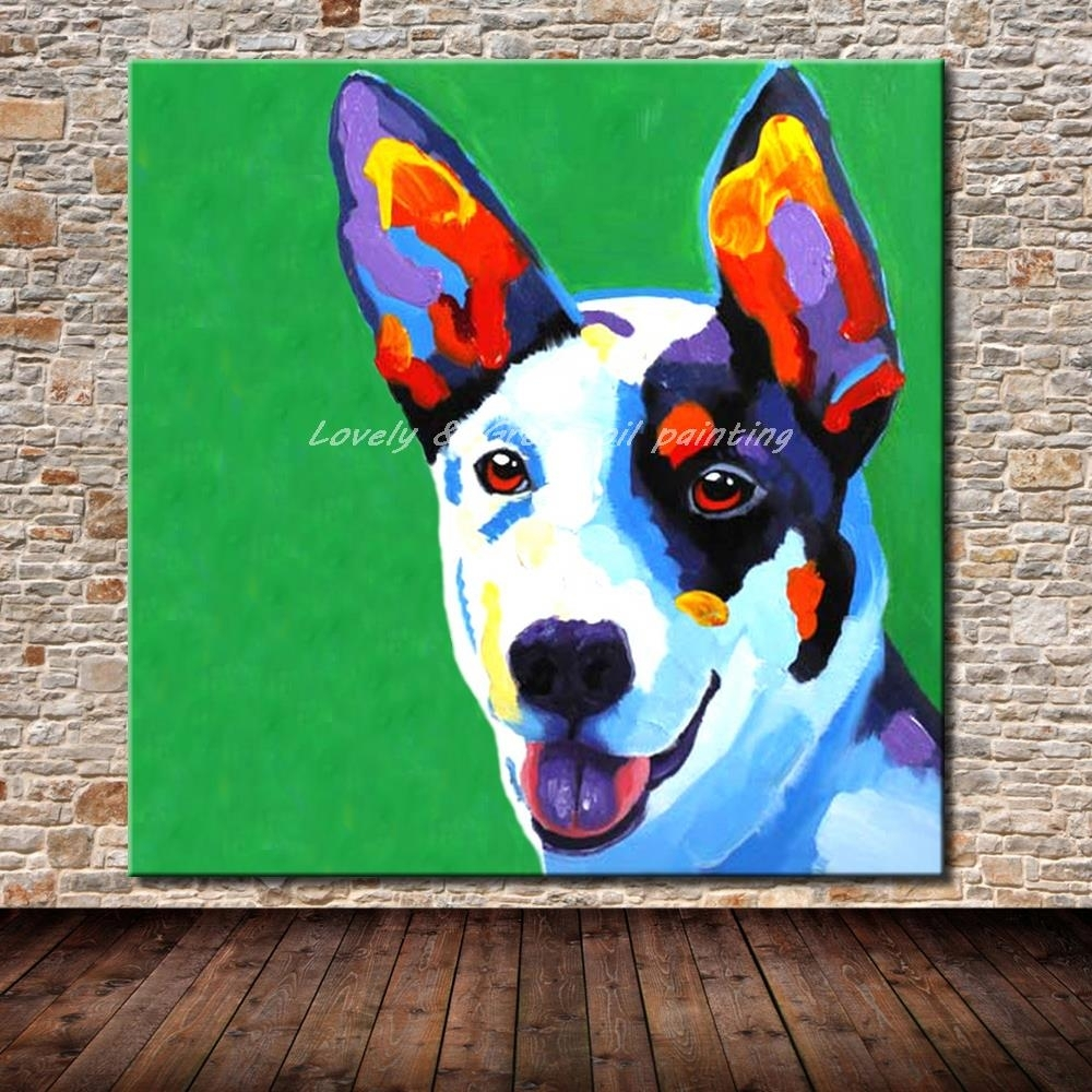 100% Hand Painted Abstract Dog Cartoon Animal Oil Painting On Inside Recent Abstract Dog Wall Art (View 1 of 20)