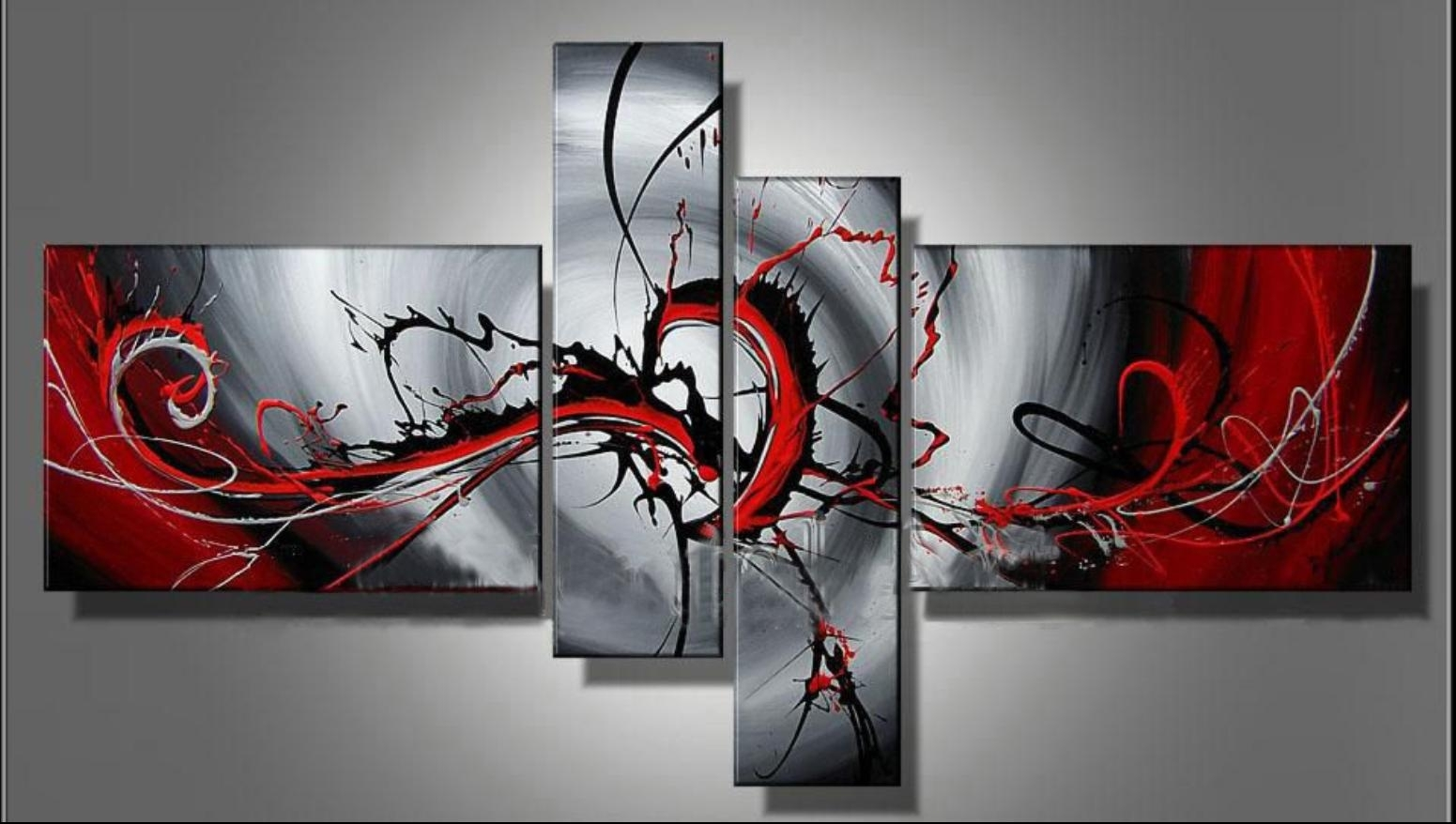 100% Hand Painted Classic Black & Red Modern Abstract Oil Painting Regarding Newest Modern Abstract Wall Art Painting (View 16 of 20)