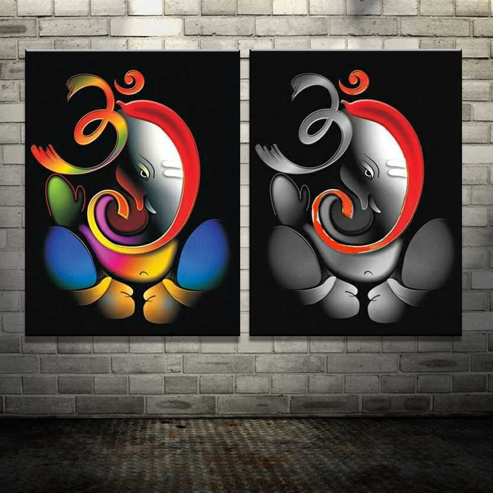 100 Hand Painted Om Font B Ganesha B Font Ganpati Oil Font B In Latest Abstract Ganesha Wall Art (View 4 of 20)