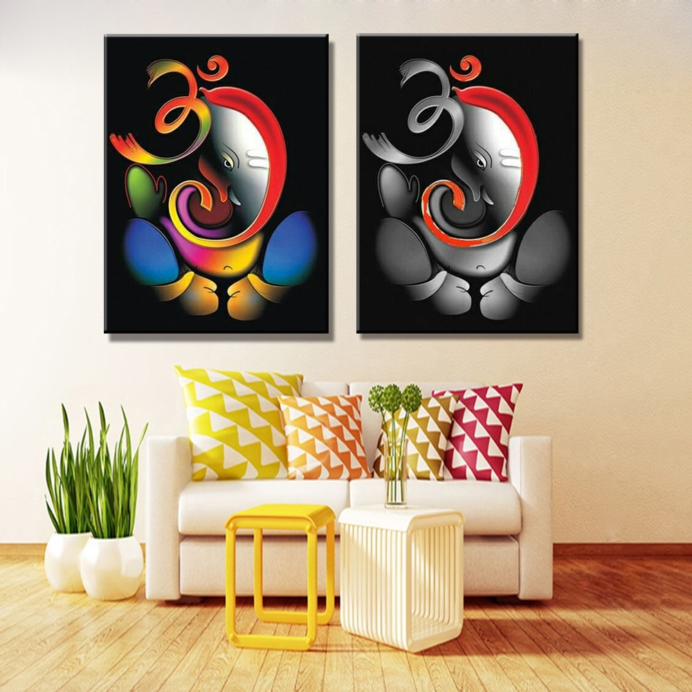 100% Hand Painted Om Ganesha Ganpati Oil Painting On Canvas In Best And Newest Abstract Ganesha Wall Art (View 1 of 20)