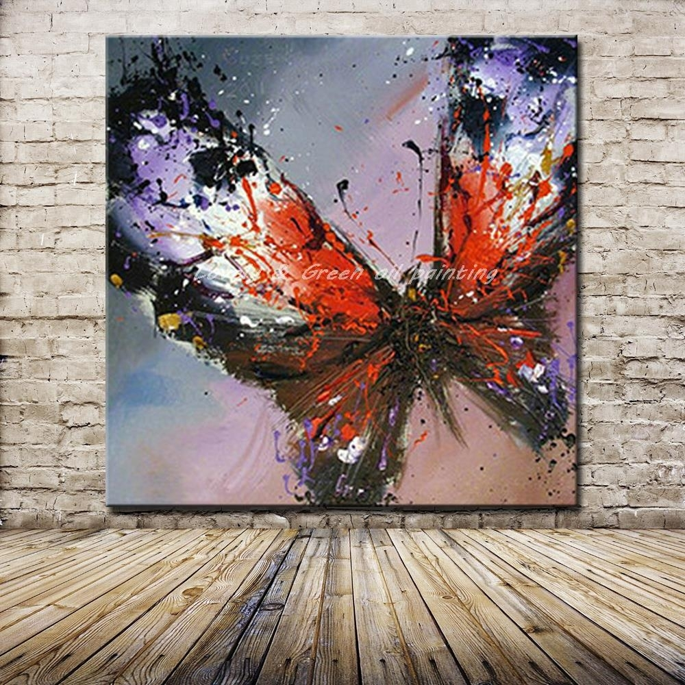 100% Handmade Modern Abstract Butterfly Oil Painting On Canvas In Most Current Abstract Butterfly Wall Art (View 8 of 20)