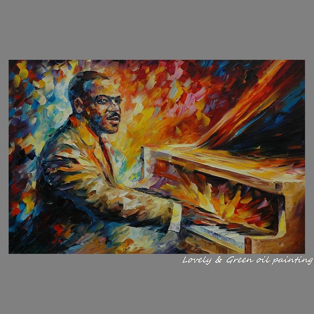 100% Handmade Palette Knife Figure Oil Painting On Canvas Pictures In Most Up To Date Abstract Piano Wall Art (View 12 of 20)