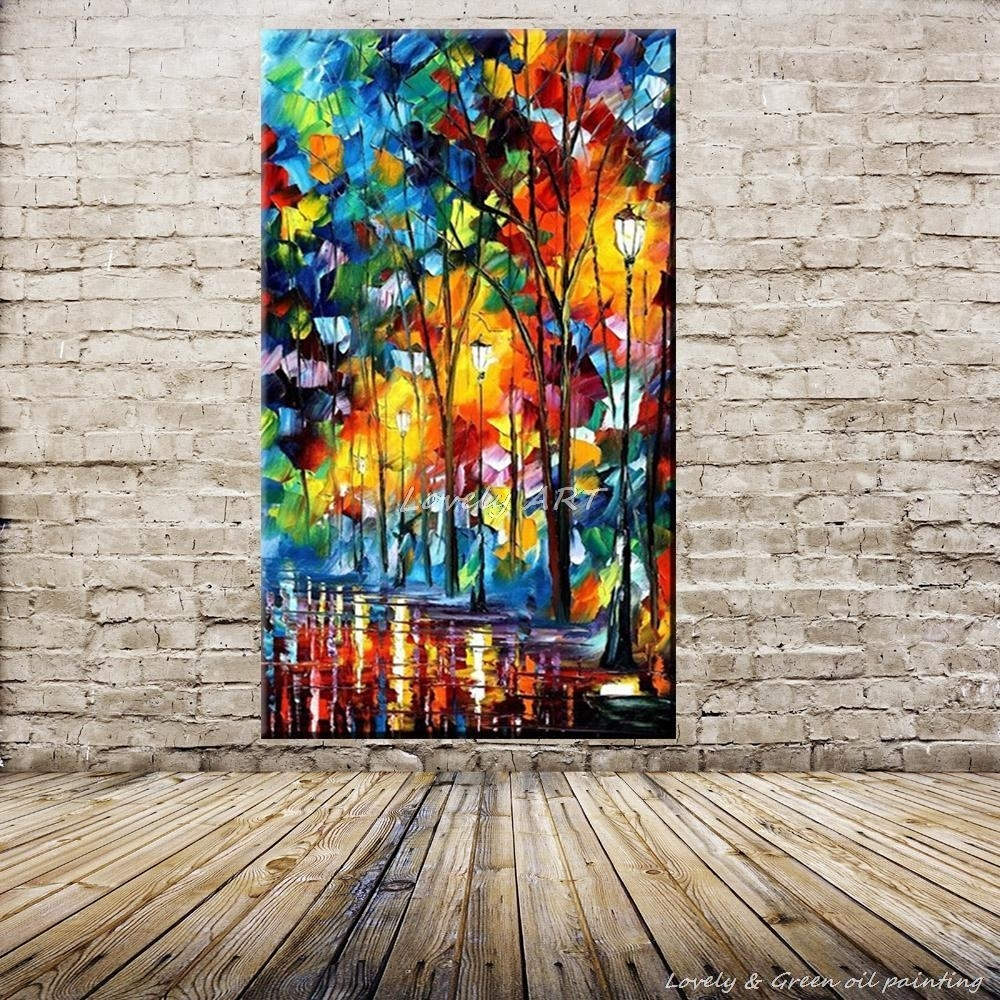 100% Handpainted Wall Art Modern Abstract Paintings Rain Tree Road Within Best And Newest Colourful Abstract Wall Art (View 14 of 20)