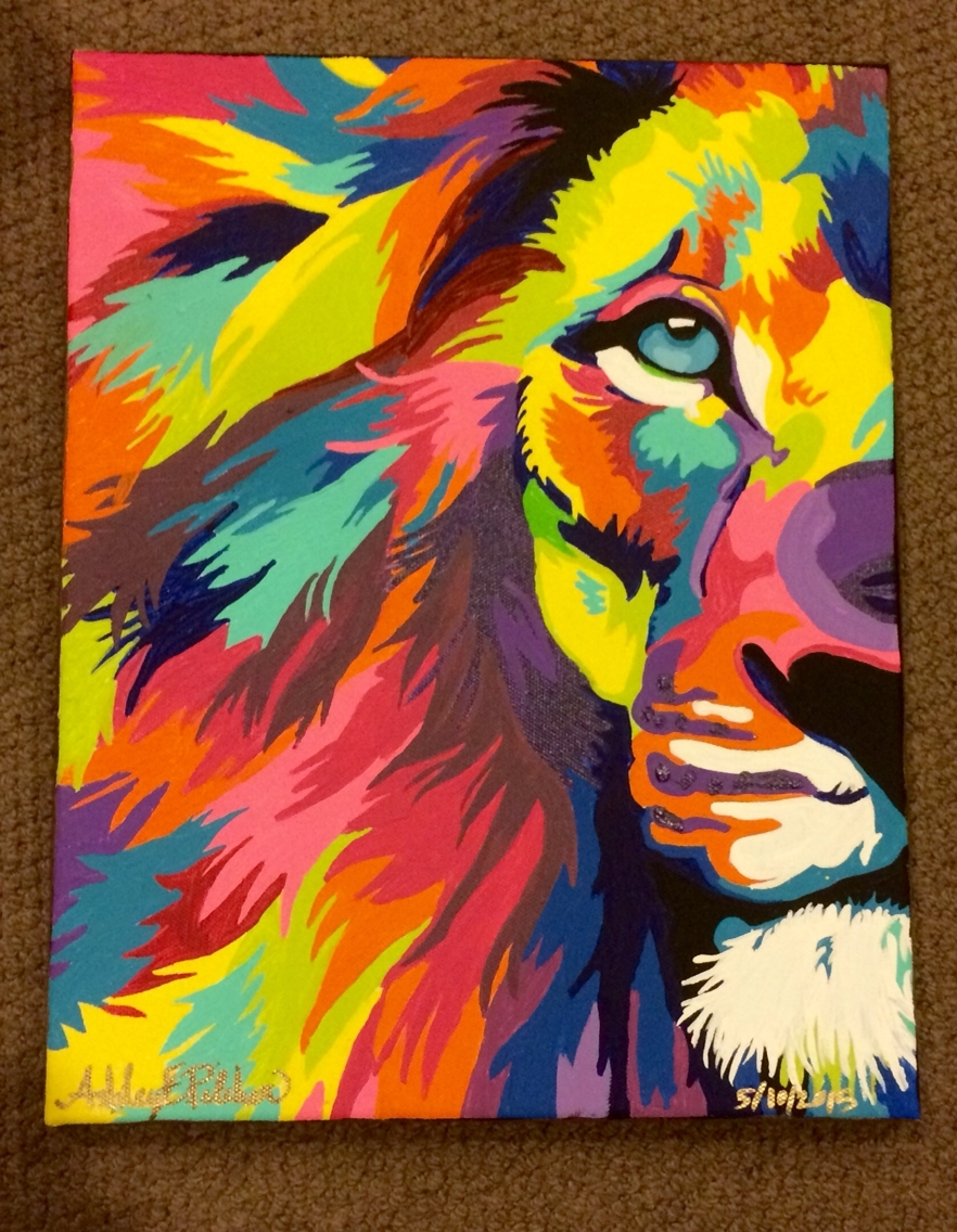 "11x14"" Acrylic On Canvas Colorful Lion Abstract Painting 05/10 For Most Recently Released Abstract Lion Wall Art (View 16 of 20)"