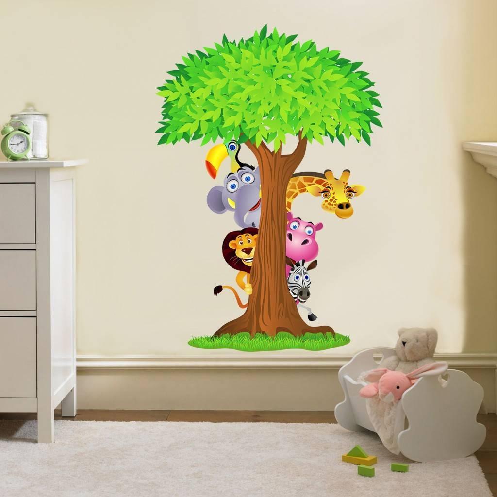 15 Animal Wall Art Nursery, Baby Nursery Decor: Chic Baby Zoo With Regard To Current Animal Wall Artstickers (View 4 of 20)