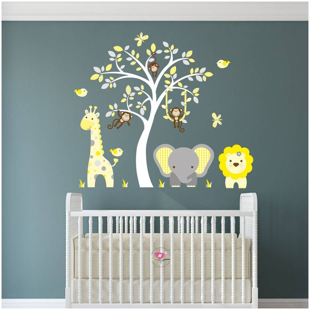 18 Wall Art Stickers Nursery, Huge White Tree Wall Decal Nursery Intended For Most Up To Date Animal Wall Artstickers (View 10 of 20)