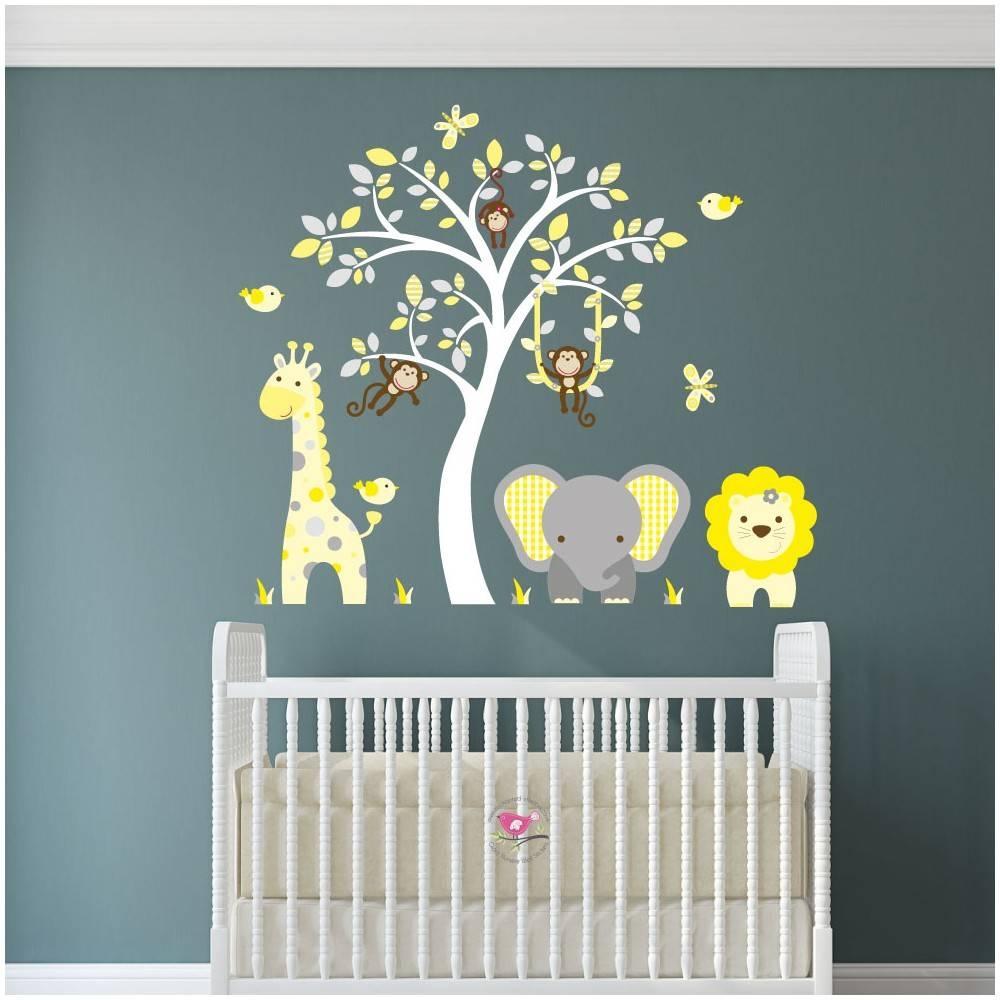 18 Wall Art Stickers Nursery, Huge White Tree Wall Decal Nursery Regarding 2018 Nurseryanimal Wall Art (View 10 of 20)