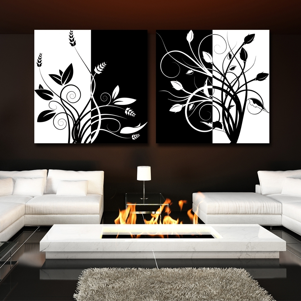2 Piece Abstract Black And White Tree Home Decor Modern Canvas For Current Abstract Aluminium Wall Art (View 1 of 20)