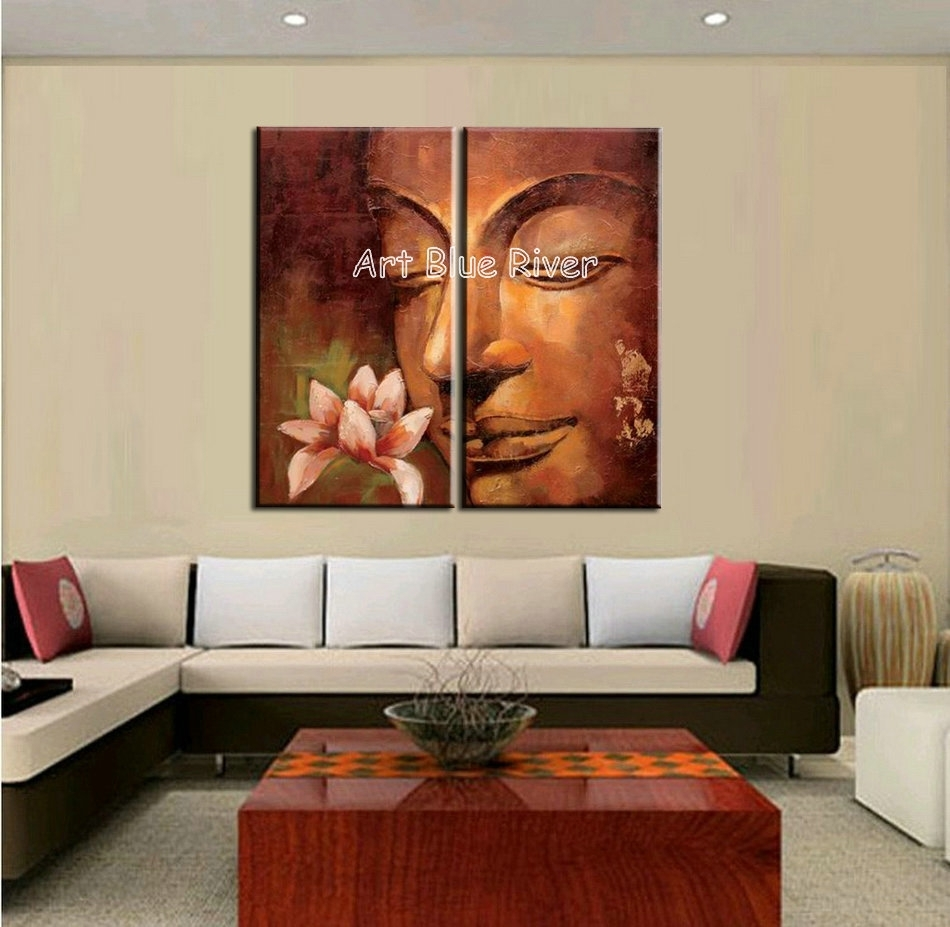 2 Piece Abstract Modern Buddha Wall Art Handmade Classic Canvas Intended For 2017 Abstract Wall Art For Living Room (Gallery 4 of 20)