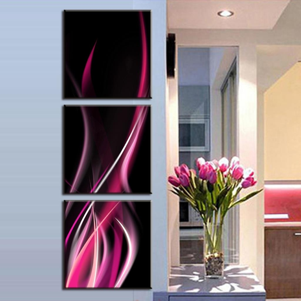 2016 Home Decoration 3 Pcs/set Abstract Rose Red Lines Canvas Wall For Recent Pink Abstract Wall Art (Gallery 7 of 20)