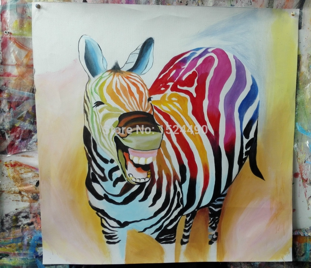 2016 Hot Sell !! Cartoon Oil Painting On Canvas Abstract Animal For Most Recently Released Abstract Animal Wall Art (View 3 of 20)