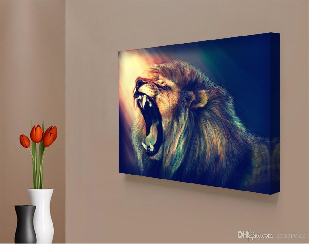 2018 1 Panels Abstract Lion Painting Home Decor Wall Art Picture Regarding Most Up To Date Abstract Lion Wall Art (Gallery 12 of 20)