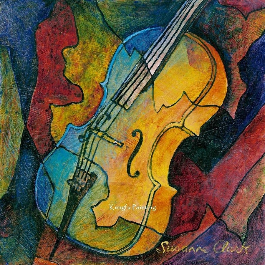 2018 100% Hand Painted Discount Abstract Music Paintings Wall Art In Most Up To Date Abstract Music Wall Art (View 1 of 20)