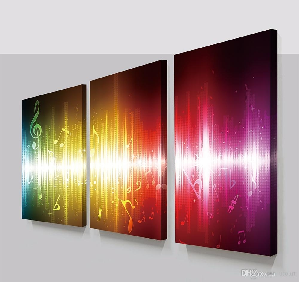 2018 3 Panels Beating Music Notes Abstract Canvas Painting Home With Regard To Current Abstract Canvas Wall Art Iii (Gallery 6 of 20)