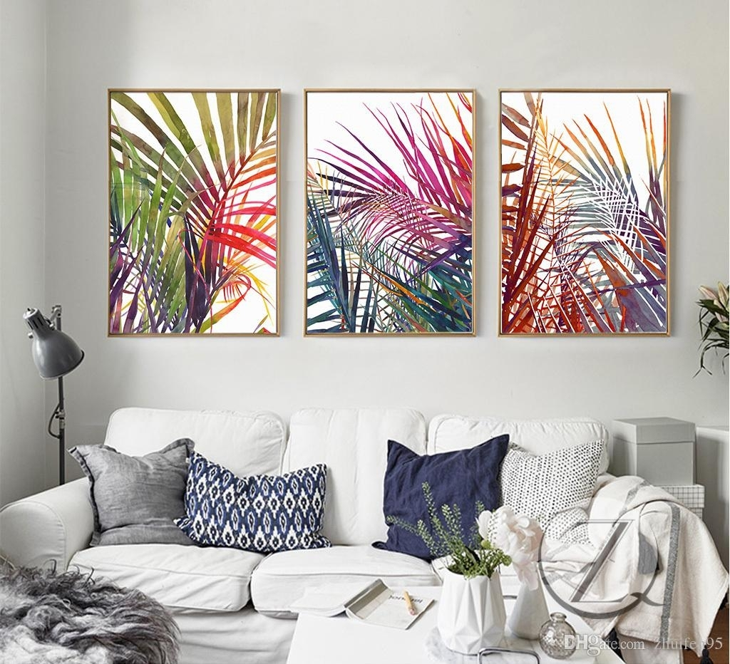 2018 3 Plant Leaves Lines Abstract Art Canvas Poster Collage Intended For Most Recently Released Abstract Leaves Wall Art (Gallery 4 of 20)