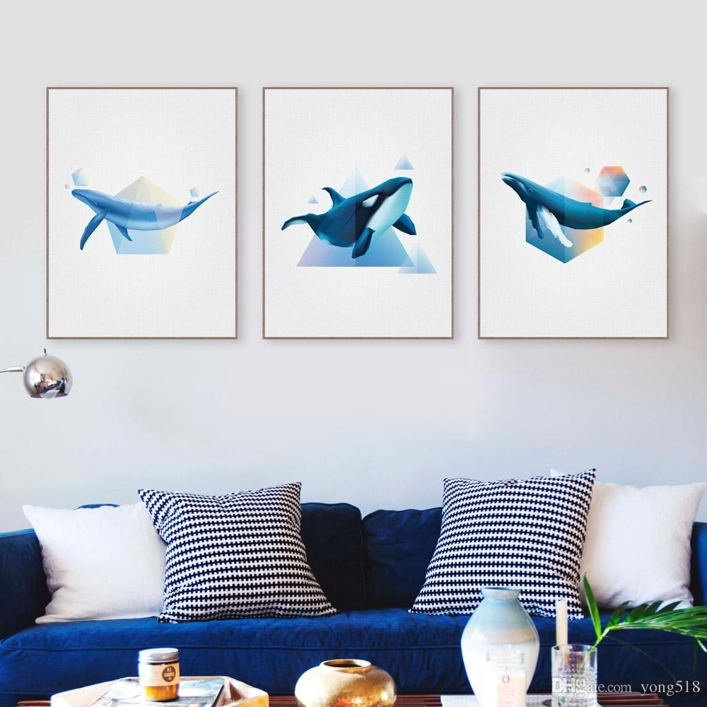 2018 Abstract Ocean Animal Shape 3D Whale Canvas Poster Prints Intended For Newest Abstract Ocean Wall Art (Gallery 18 of 20)