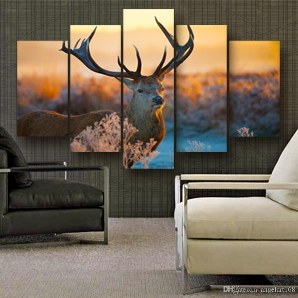 2018 Big Deer Wall Art Oil Painting On Canvas No Frame Animal inside Most Up-to-Date Abstract Deer Wall Art