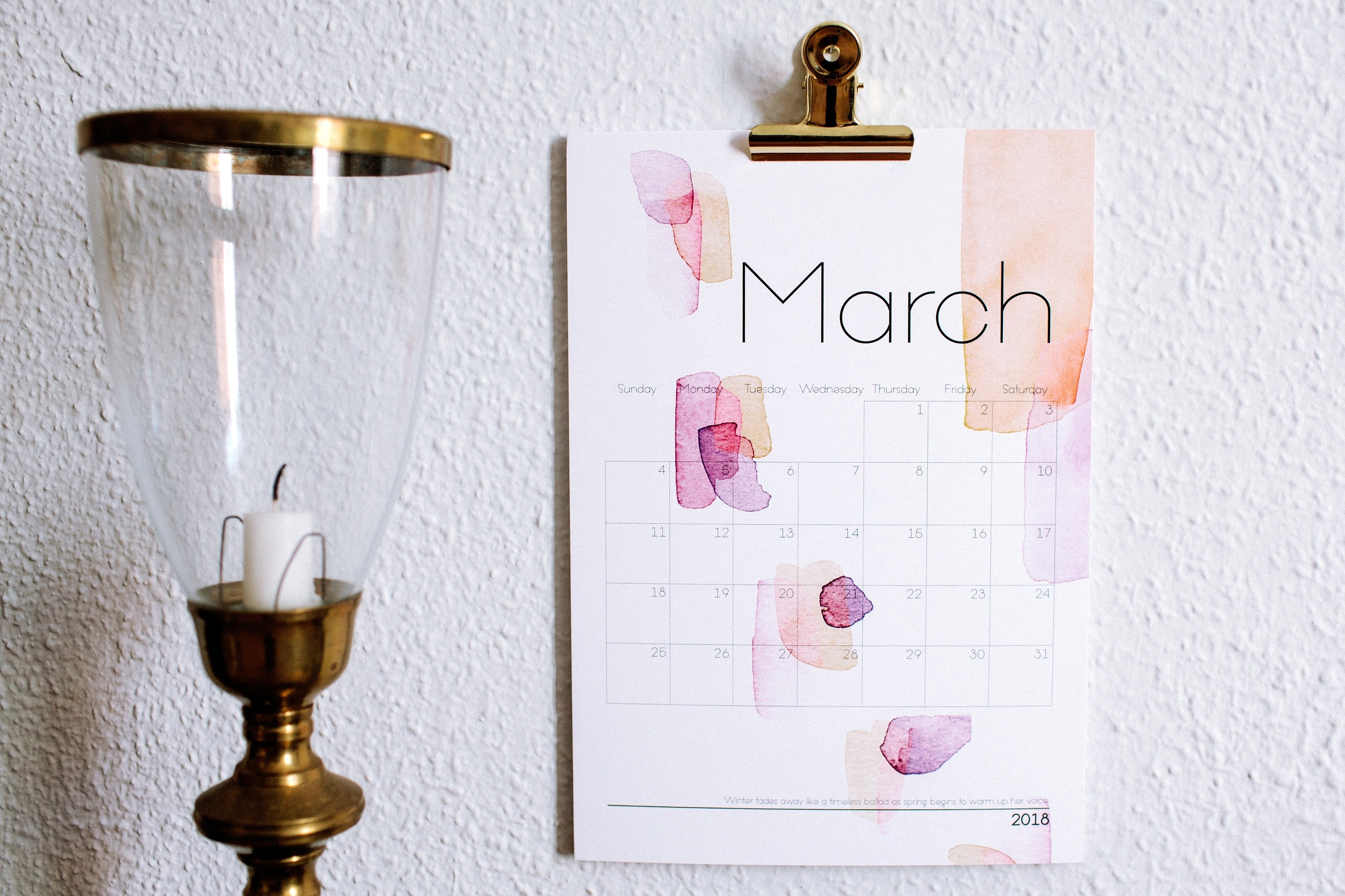 2018 Calendar Watercolor Art Watercolor Painting Abstract Throughout Latest Abstract Calendar Art Wall (Gallery 12 of 20)