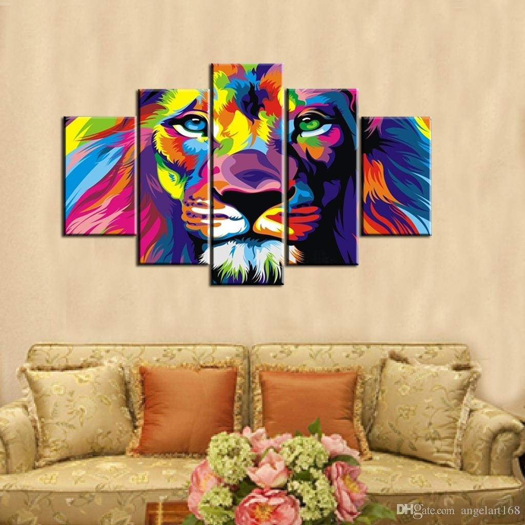 2018 Colourful Lion Wall Art Oil Painting On Canvas No Frame Intended For Most Recent Abstract Lion Wall Art (Gallery 13 of 20)