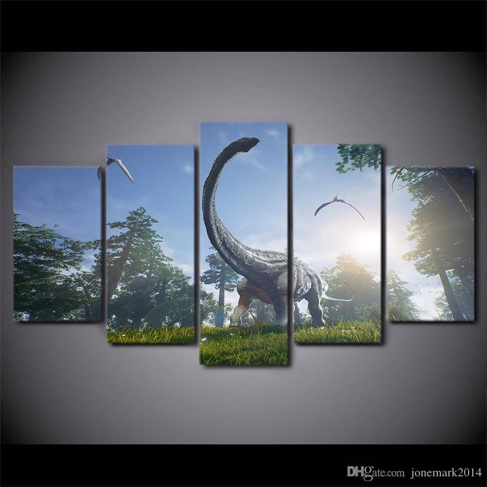 2018 Dinosaurs Park Animal Wall Art Canvas Pictures For Living For Most Recently Released Animal Wall Art Canvas (View 2 of 20)