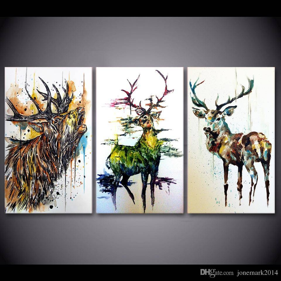 2018 Elk Graffiti Deer Animal Wall Art Canvas Pictures For Living Within Most Popular Animal Wall Art Canvas (View 3 of 20)