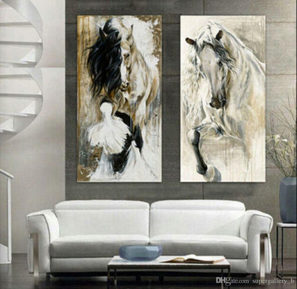 2018 Framed 2 Panel Hand Painted Modern Abstract Animal Art Oil Regarding Most Recently Released Abstract Horse Wall Art (View 1 of 20)