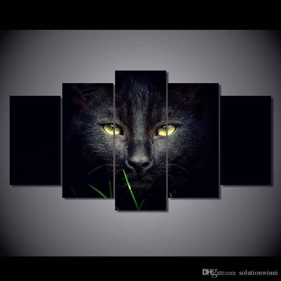 2018 Framed Hd Printed Black Cat Animal Wall Art Canvas Print With Current Animal Wall ArtCanvas (View 4 of 20)