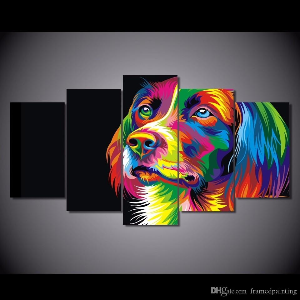 2018 Framed Hd Printed Colorful Dog Design Picture Wall Art Canvas Within Newest Abstract Dog Wall Art (View 14 of 20)